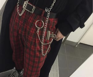 chains, outfit, and red image