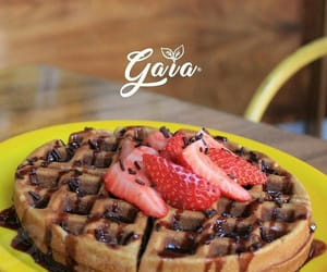 breakfast, waffles chocolate, and food image