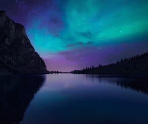 aurora, mountain, and sky image