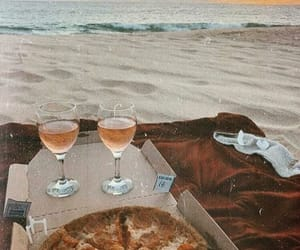 beach, picnic, and pizza image
