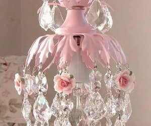 chandelier, decor, and pink image