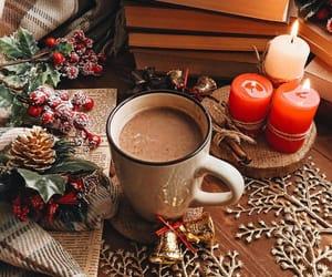 books, christmas, and cocoa image
