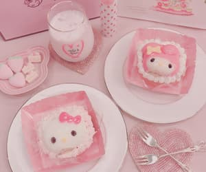 pink, hello kitty, and food image