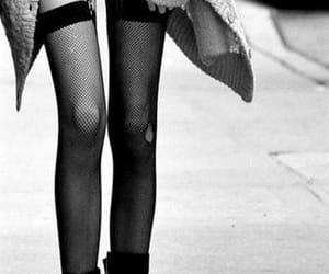 legs, black and white, and skinny image