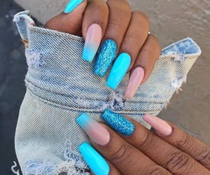 nails, blue, and model image