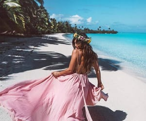 beach, flowers, and style image