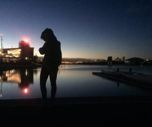 beauty, night, and rowing image
