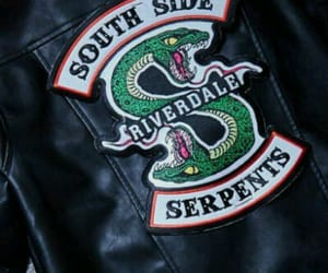 jacket, leather, and serpents image
