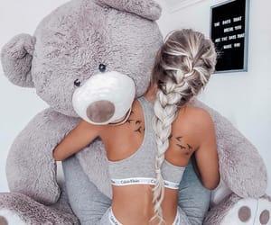 fashion, girl, and teddy bear image