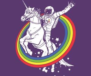 unicorn, rainbow, and astronaut image