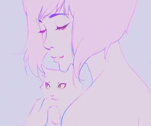 aesthetic, anime girl, and cat image