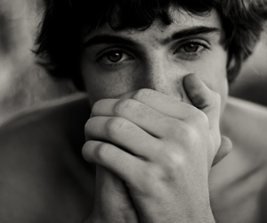 black and white, curly, and eyes image