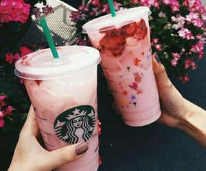 flowers, pink, and starbucks image