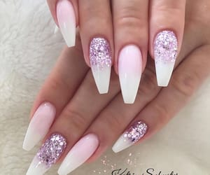 long nails, white and purple, and ballerina nails image