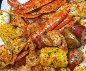 crab, sausage, and seafood image
