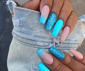 blue nails, inspiration, and tumblr inspo image