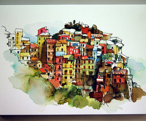 cinque terre, color, and drawing image