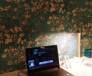 desk, my working space, and lamp image