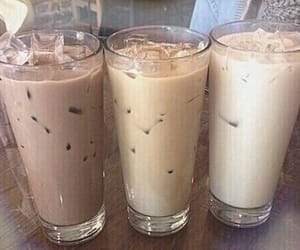 beige, iced coffee, and milk image