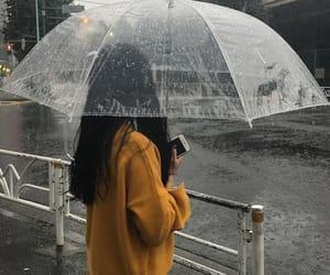 rain and girl image
