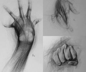 art, black and white, and hand image