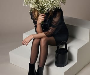 black, flowers, and fashion look image
