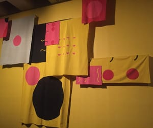 abstract art, pink, and yellow image