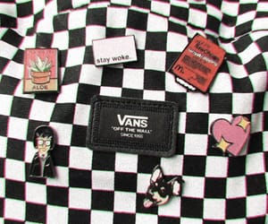 backpack, checkered, and pins image
