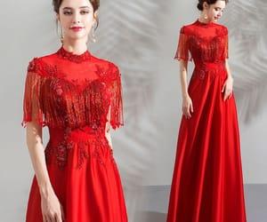 evening dress, satin dress, and red dress image
