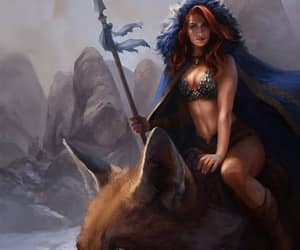 big fox red sonja and blue cloak spear image