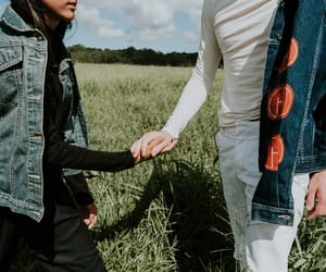 couple, denim jacket, and fashion image