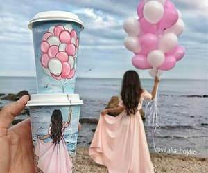 art, balloons, and cafe image