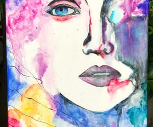 mujer, watercolor, and acuarela image
