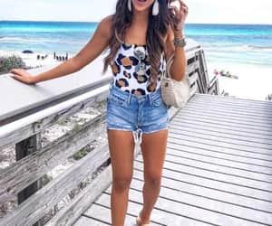 beach, shorts, and animal print image