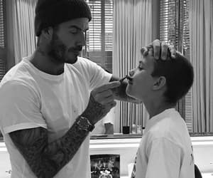 black and white, dad, and David Beckham image