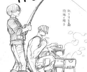 fishing, boku no hero academia, and todoroki image
