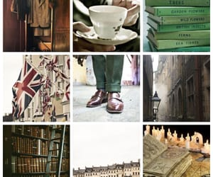 books, library, and tea image