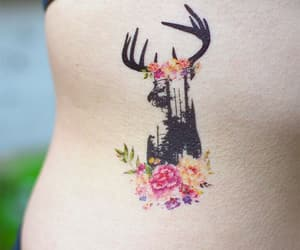 deer, flower, and tattoo image