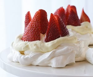 food, strawberry, and cream image