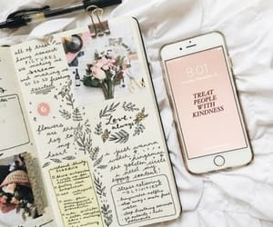 journal, art, and flowers image