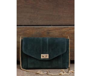 bag, gold, and suede image