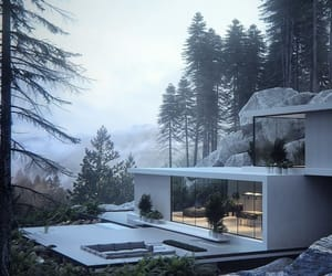 architecture, forest, and house image