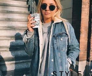 black jeans, blonde, and denim jacket image