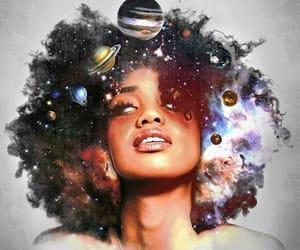 girl, moon, and universe image