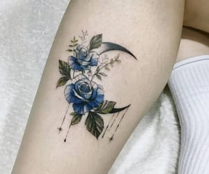 tattoo, blue, and moon image