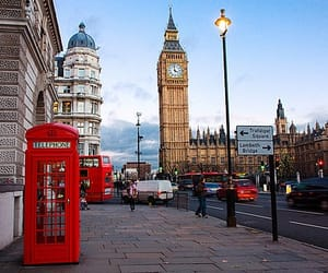 Big Ben, red, and red bus image