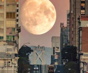 moon, city, and aesthetic image