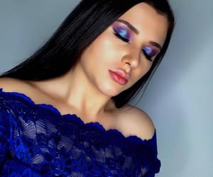 blue, makeup, and rainbow image
