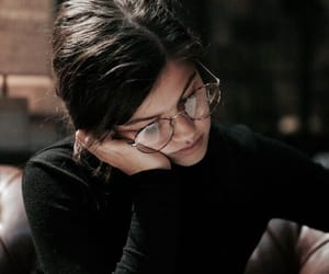 girl, glasses, and book image