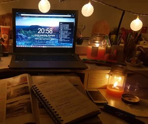 candles, college, and desk image